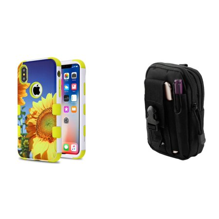 - TUFF Hybrid Series Compatible with Apple iPhone XS, iPhone X - Military Grade Protector Case (Sunflower Field/Yellow) with Travel Pouch and Atom Cloth