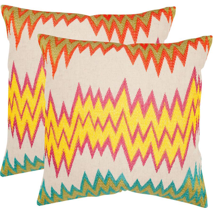 Safavieh Ashley Neon/Yellow Pillow, Set of 2