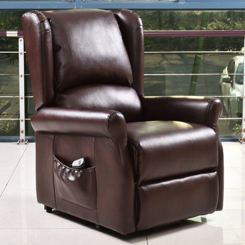 Brown Electric Lift Chair Recliner with Remote Control by Costway