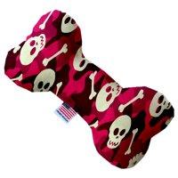 Pink Camo Skulls 8 Inch Canvas Bone Dog Toy
