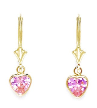14k Yellow Gold October Pink Cubic Zirconia Heart Drop Leverback Earrings Measures 24x7mm by Yellow-Gold Pins