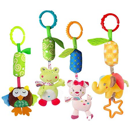 4 Packs Rattle Cat Seat Hanging Bell for Newborn Toddlers Playing Handbells Use for Baby Car Crib Stroller Adorable Animal Wind Chime for Tag Along Travel