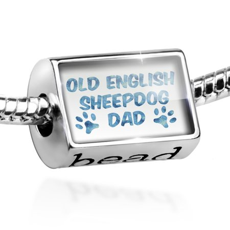 Old English Sheepdog Photo Charm (Bead Dog & Cat Dad Old English Sheepdog Charm Fits All European Bracelets)
