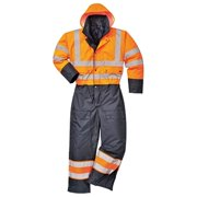 S485 5XL Contrast Quilted Coverall Lined, Orange & Navy - Regular