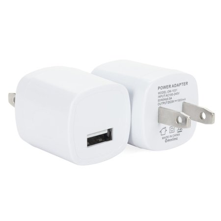 Spark Electronics 2PC White Universal USB Port Colors USB AC/DC Power Adapter Home Wall Charger Plug W/ Easy Grip for iPhone 7/7 plus 6/6 plus Samsung Galaxy S5 S4 (Best Power Bar For Iphone)