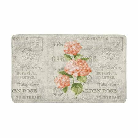 MKHERT Hortensia Flowers in Vintage Postcard Background Doormat Rug Home Decor Floor Mat Bath Mat 30x18