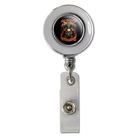 Badge System (Hell On Wheels Motorcycle Skeleton Retractable Reel Chrome Badge ID Card Holder Clip )