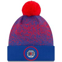 LA Clippers New Era On-Court Cuffed Knit Hat with Pom - Royal - OSFA