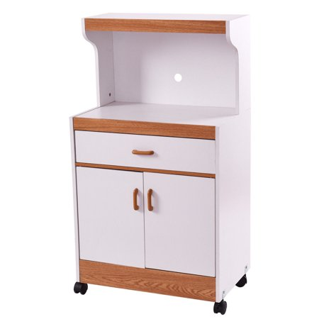 Gymax Microwave Cart Stand With Drawer And Two Doors