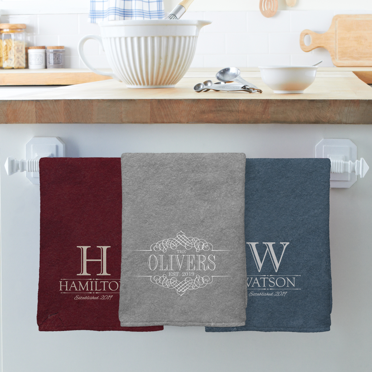 Personalized Decorative Name Kitchen Towel-Available in 3 Colors, Single or Set of 2