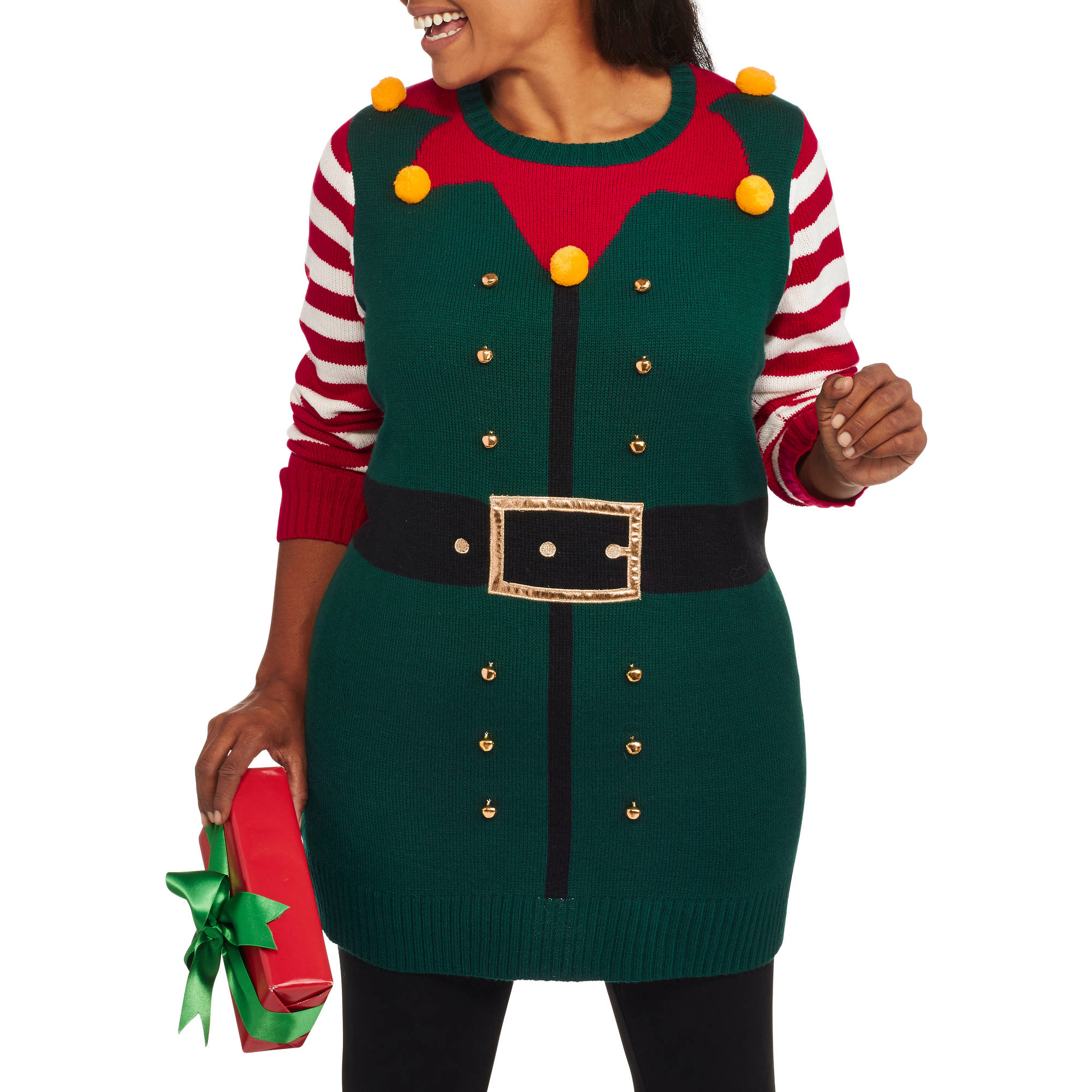"""Holiday Time Women's Plus Christmas Tunic Sweater, Online Exclusive - """"Happy Elf"""""""