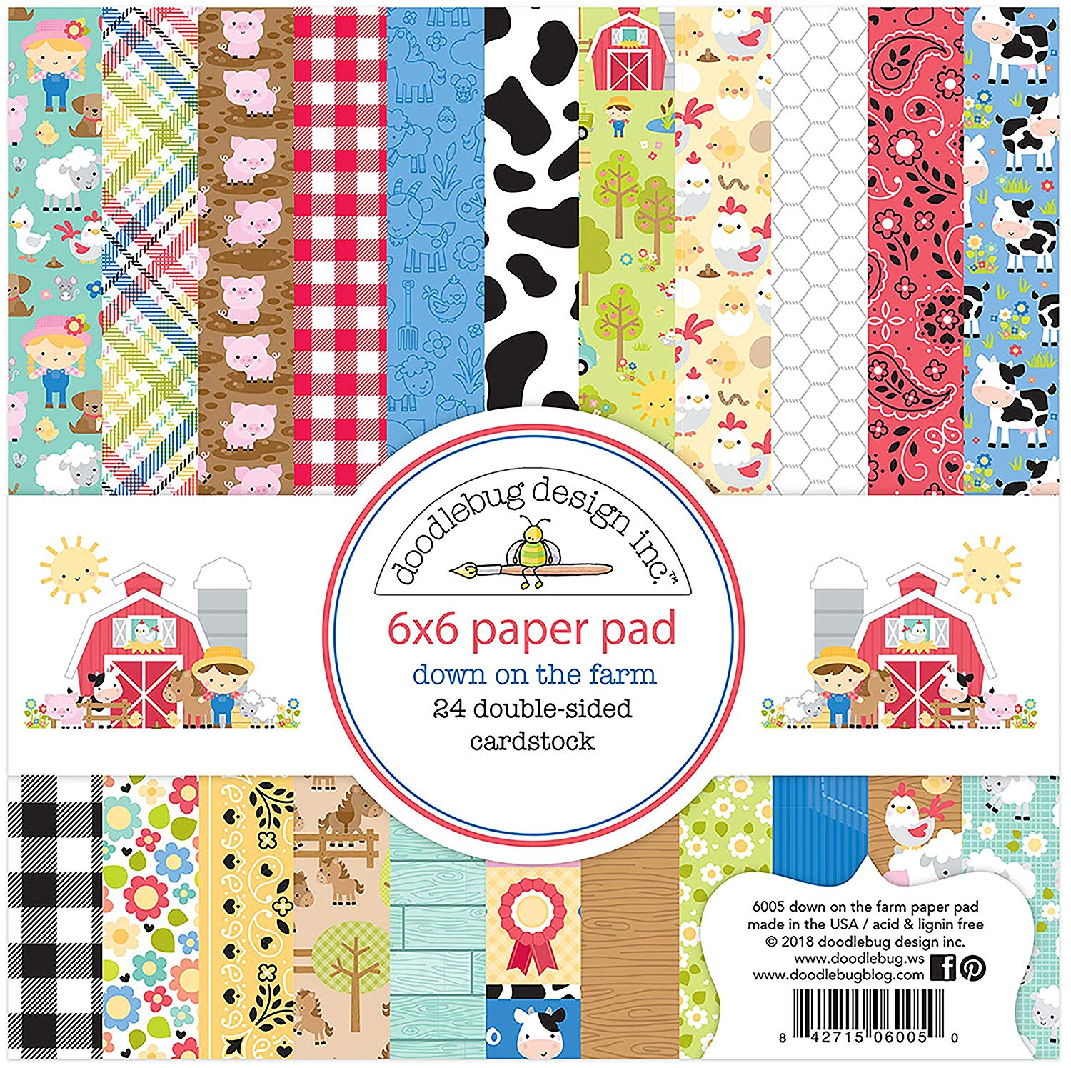 """New Doodlebug 6/"""" x 6/"""" Paper Pad Back To School"""