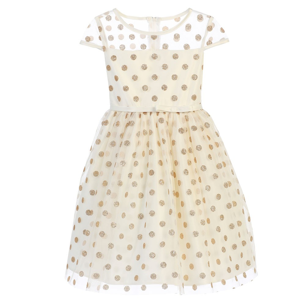 Ivory gold polka dotted overlay occasion dress 7 16 walmart com