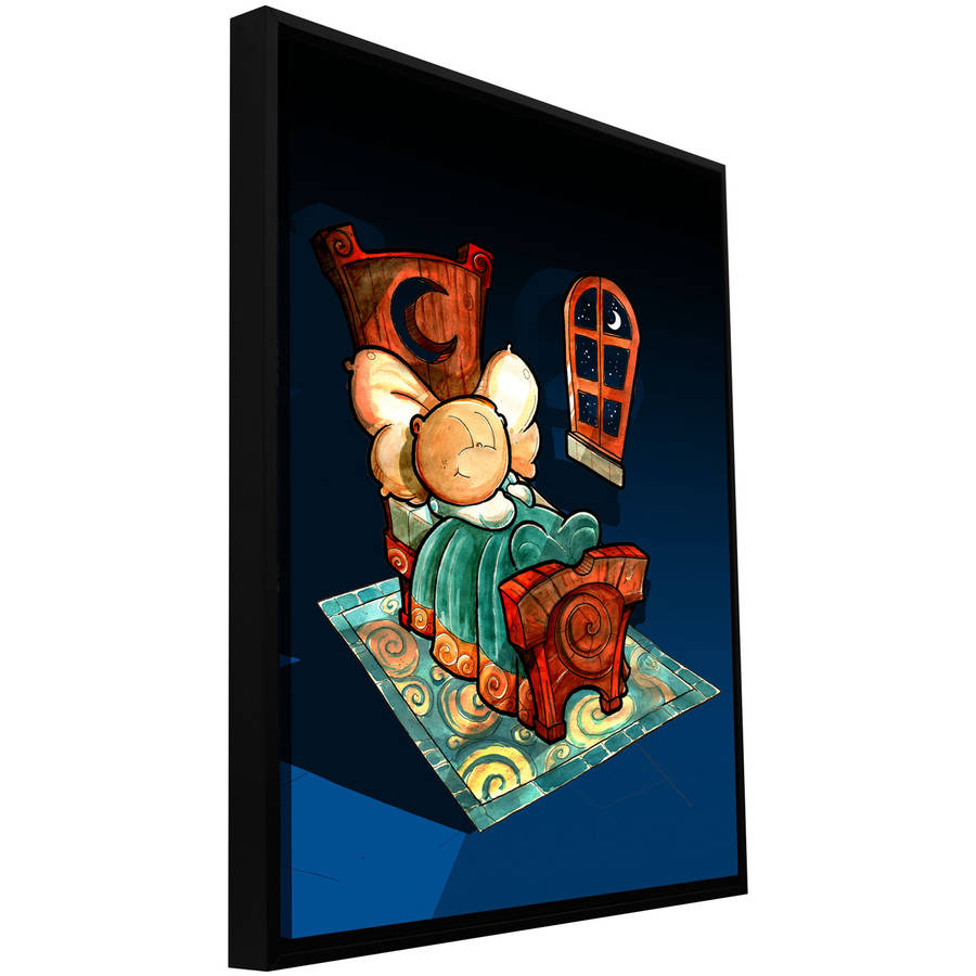 "ArtWall Luis Peres ""Kids In Bed 1"" Floater Framed Gallery-Wrapped Canvas"