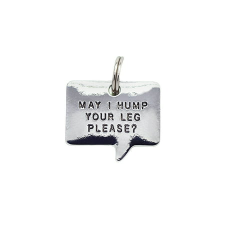 Lucky Feather (Lucky Feather Engraved Pet Thoughts Pet Collar Tag - May I Hump Your Leg)