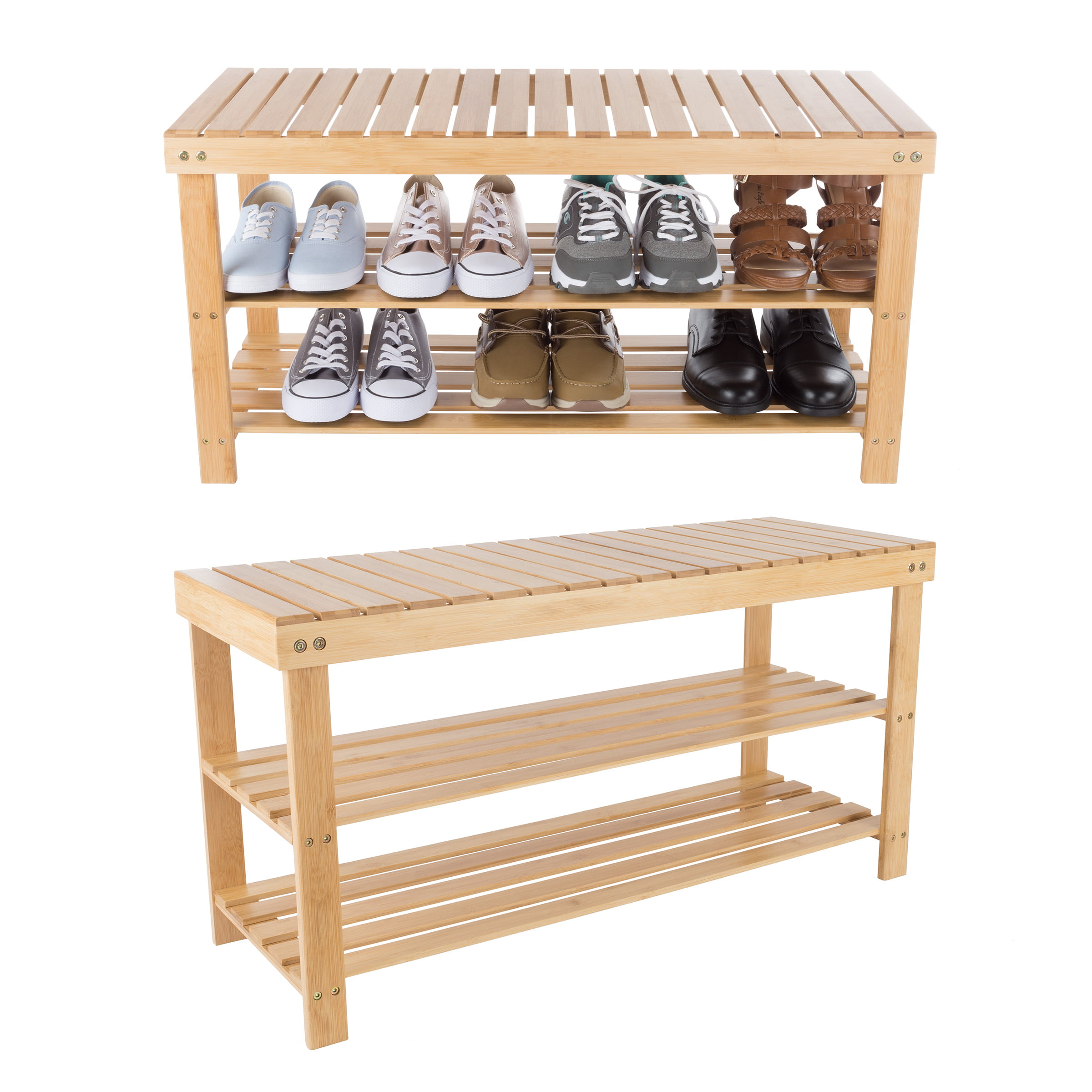 Picture of: Bamboo Shoe Rack Bench With 2 Shelves Eco Friendly Natural Wood Seat Storage And Organization For Bedroom Entryway Hallways Closets By Lavish Home Walmart Com Walmart Com