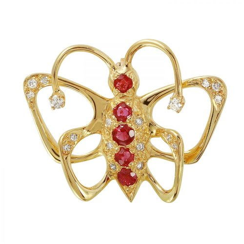Ladies 1.1 Carat Ruby And Diamond 14K Yellow Gold Brooch by Generic