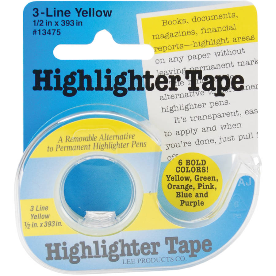 "Highlighter Tape, .5"" x 393"", Yellow"