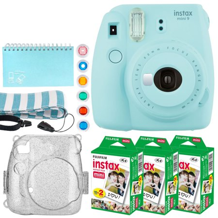 Fujifilm Instax Mini 9 Instant Camera (Ice Blue) + Fujifilm Instax Mini Twin Pack Instant Film (60 Exposures) + Glitter Hard Case + Scrapbooking Album + Colored Lens Filters + Neck Strap – Full Kit ()