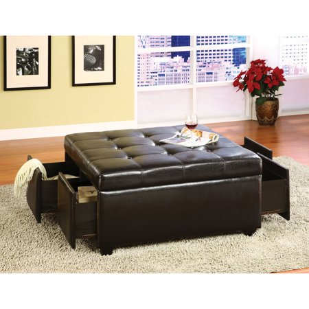Furniture of America Sorelle Button-Tufted Ottoman with Drawers