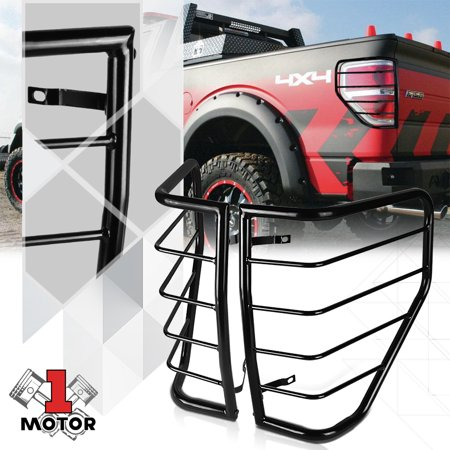Black Stainless Steel Tail Light/Lamp Guard Protector Cover for 09-14 Ford F150 10 11 12 (Black Light Covers Stainless Accessories)