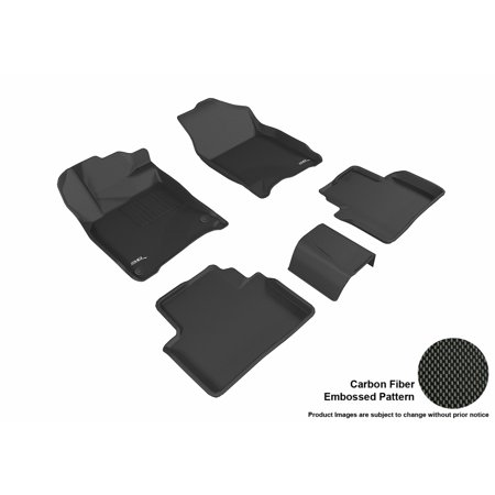 3D MAXpider 2016-2016 Honda Civic Coupe/Sedan First & Second Row Set All Weather Floor Mats in Black with Carbon Fiber Look