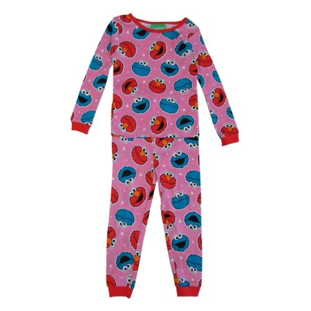 Sesame Street Little Girls Pink Elmo Long Sleeve 2 Pcs Pajama Set](Elmo Girl)