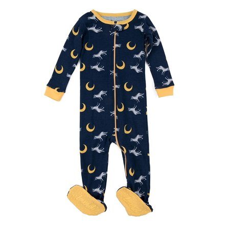 Leveret Kids Pajamas Baby Boys Girls Footed Pajamas Sleeper 100% Cotton (Wolf, Size 6-12 Months) Cotton Footed Sleeper Pajamas