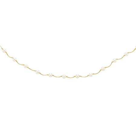 14K Yellow Gold 6-6.5mm White Pearl Tin Cup Necklace 17