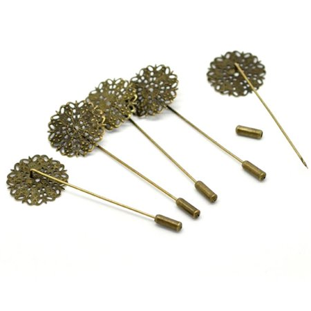 20 Antique Gold Tone Tone Beading Coat Stick Pin Clutch Brooches 2-1/2 Inch 1