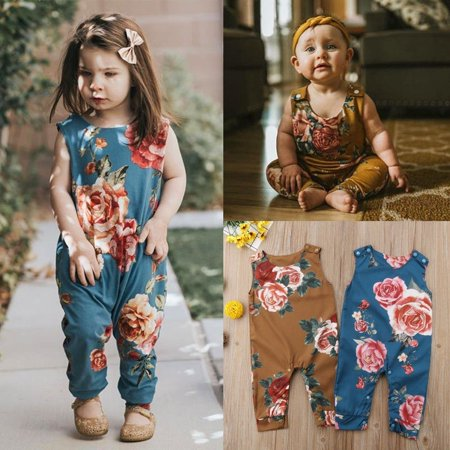 2a1b4fe47 Newborn Baby Girls Floral Print Sleeveless Romper Jumpsuit Summer ...