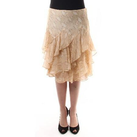 RALPH LAUREN Womens Beige Animal Print Above The Knee Layered Skirt  Size: -