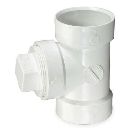4 Hub x Hub x FNPT PVC DWV Cleanout Tee with Plug MUELLER INDUSTRIES