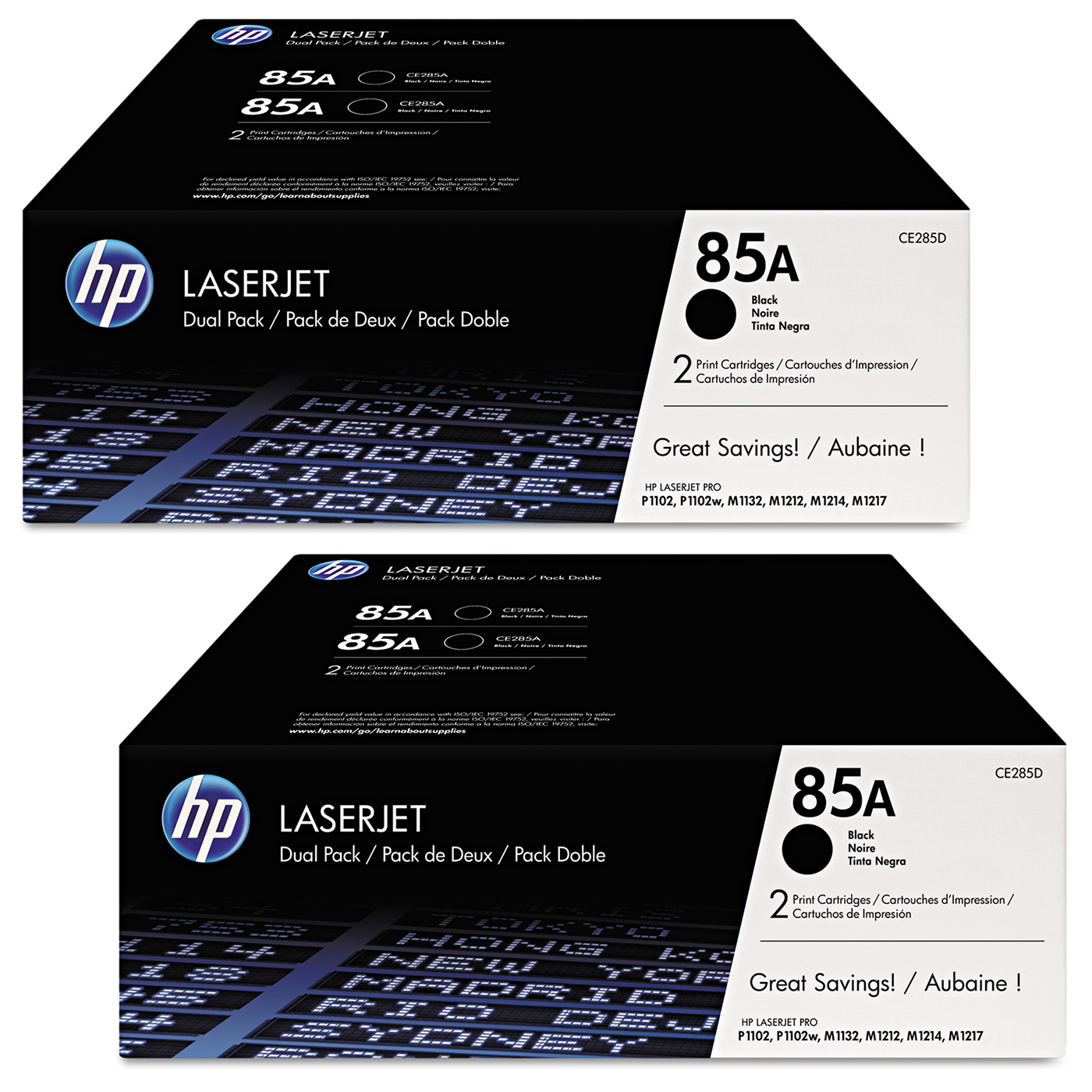 Buy two HP85A Black Toner dual packs and get $25 off