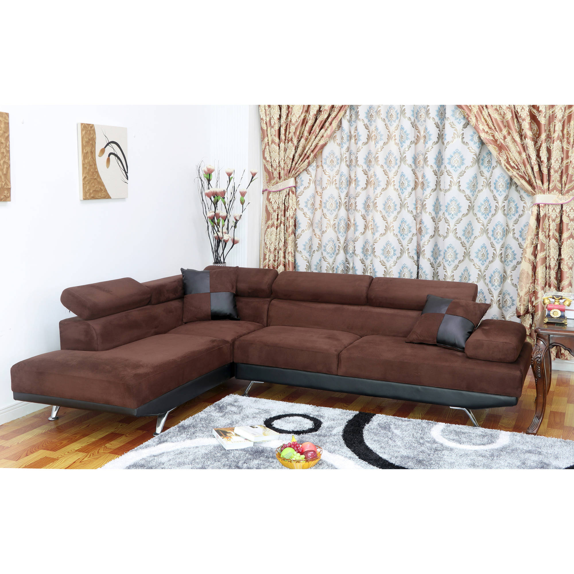 UFE Sofia 2-Piece Dark Brown Microfiber Modern Living Room Left Facing Chaise Sectional Sofa  sc 1 st  Walmart : dark brown sectional sofa - Sectionals, Sofas & Couches
