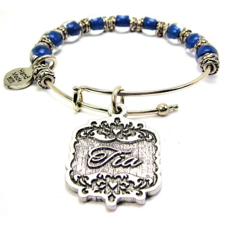 Chubby Chico Charms Tia Victorian Scroll Beaded 9mm Bangle Bracelet In Shire Blue