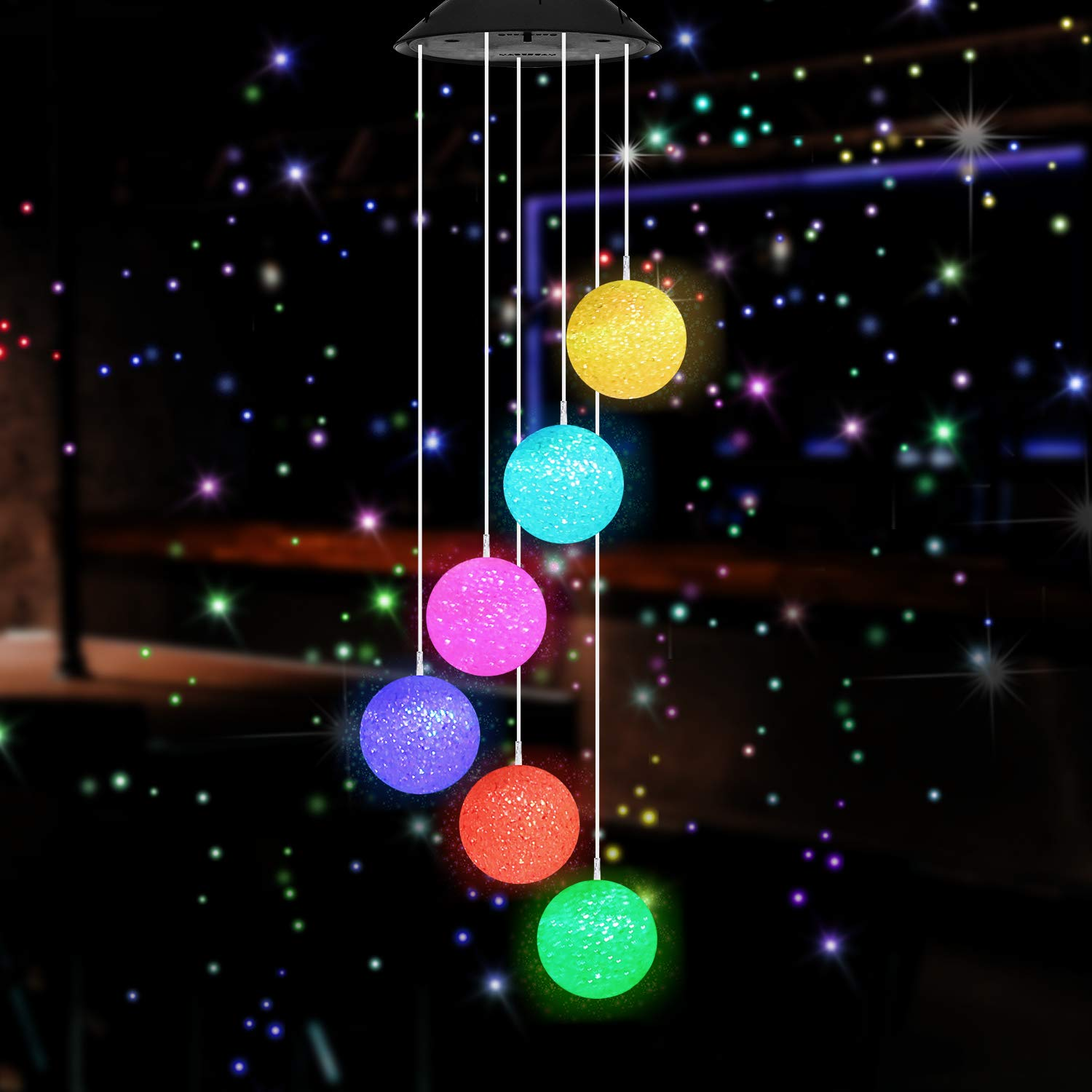 SIEBIRD Crystal Ball Solar Wind Chimes Outdoor Color Changing Mobile Romantic Wind Chime Light for Home Patio Yard Garden Decor Waterproof LED Solar Powered Wind Chimes Lights Garden Hanging Lamp
