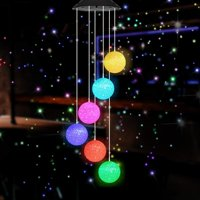 Wind Chimes Crystal Ball Solar Wind Chimes Color-Changing Outdoor Waterproof Wind Mobile Led Solar Powered Wind Chimes Outdoor Decor, Yard Decorations(Crystal Ball)