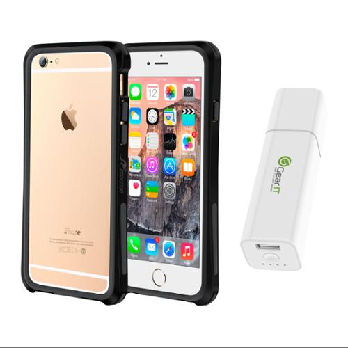 iPhone 6 Case Bundle (Case + Battery Pack), roocase iPhone 6 4.7 Linear Bumper Open Back with Corner Edge Protection Case Cover with Portable Battery Pack White for Apple iPhone 6 4.7-inch, Black