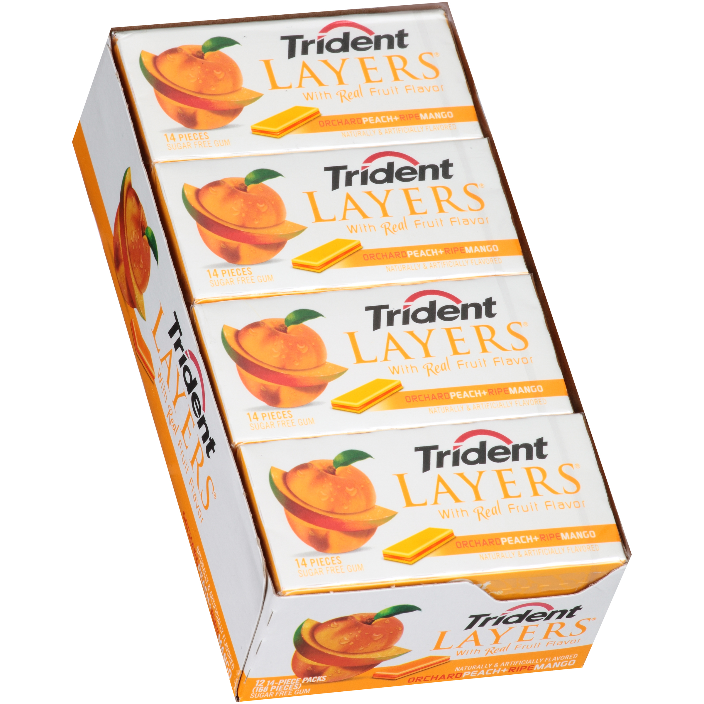 Trident Layers Gum Orchard Peach/Ripe Mango Sugar Free, 14 Piece Packs, 12 Count