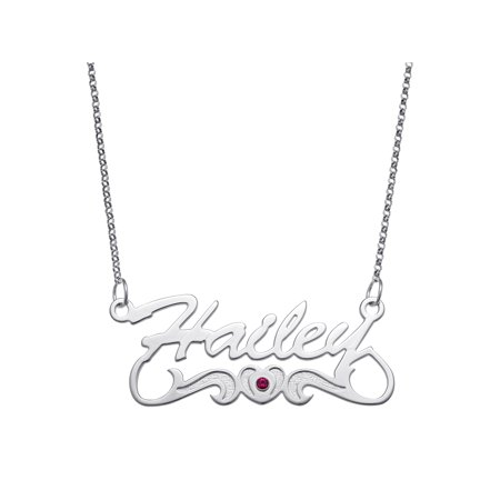Sterling Silver Name Necklace - Personalized Script Name with Birthstone Heart Tail Sterling Silver Necklace, 18