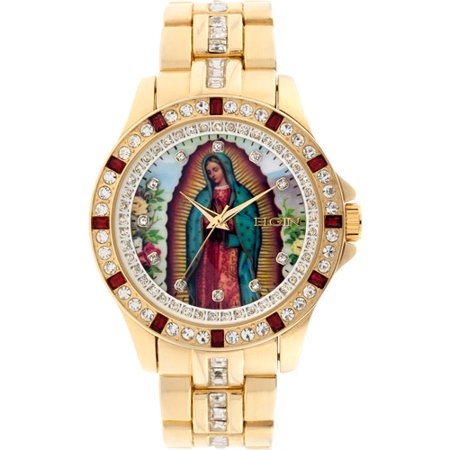 Gold Tone Floating Crystal Watch - Men's Lady of Guadalupe Graphic Dial Crystal Accented Gold-Tone Watch