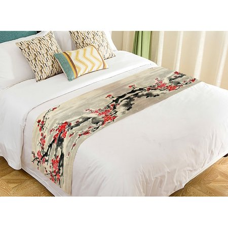 GCKG Asian Bed Runner, Plum Blossom Traditional Chinese Painting Bed Runners Scarves Bed Decoration 20x95 inch ()