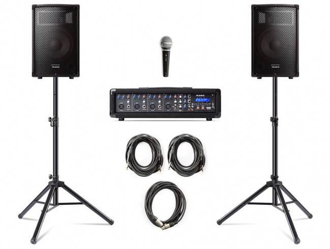 Alesis PA System in a Box Bundle - Mixer - Mic - Speakers - Stands