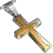 Stainless Steel Silver-Tone Cross Crucifix Prayer in English Pendant Necklace