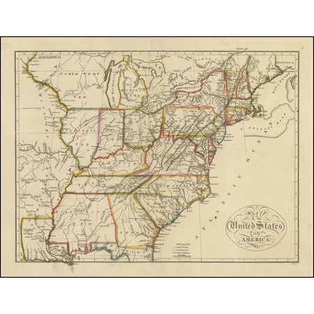 LAMINATED POSTER Map of the United States of America POSTER PRINT 24 ...