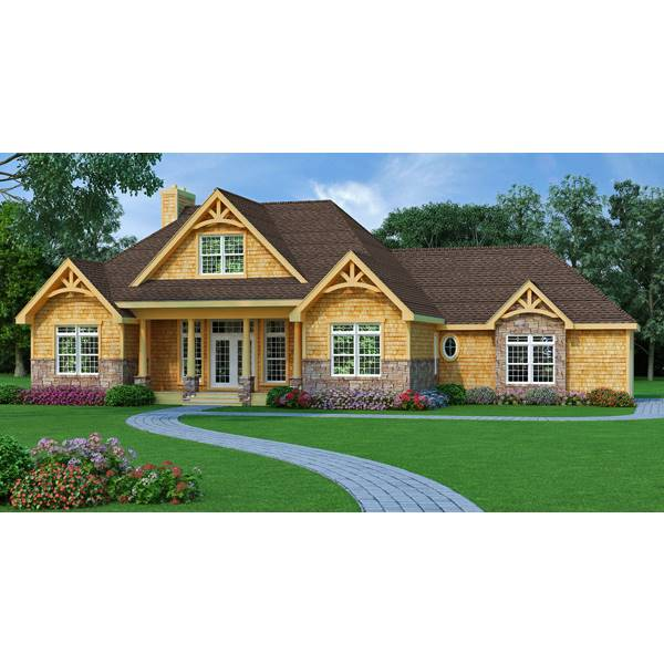 TheHouseDesigners-9233 Craftsman Lake House Plan with Slab Foundation (5 Printed Sets)