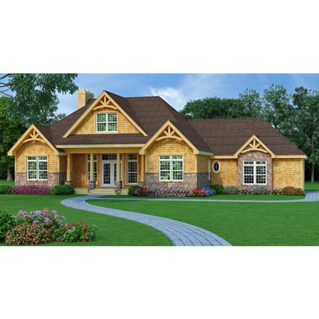 TheHouseDesigners-9233 Construction-Ready Craftsman Lake House Plan with Slab Foundation (5 Printed