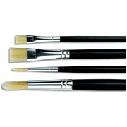 Sax Phoenix Golden Nylon Long Lacquered Hardwood Handle Paint Brush Set, Assorted Size, Set of 4