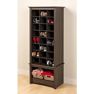 Prepac espresso tall shoe cubbie cabinet